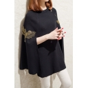 Embroidered Bird Printed Crewneck Collar Solid Color Oblique Zip Knit Cape Coat