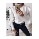 Hot Fashion Style Long Sleeve Round Neck Simple Plain Lace Patched Fitted T-Shirt
