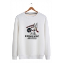 Cute Cartoon Rabbit WELCOMES YOU Letter Printed Round Neck Long Sleeve Pullover Sweatshirts