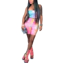 Womens Pub Styles Ombre Strapless Top High-Waist Skinny Bermuda Shorts Two-Piece Set