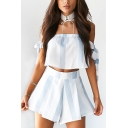 Womens Stripe Print Tied sleeve Strapless Crop Tee with Wide-Leg Culottes Shorts Co-ords