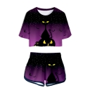 Popular Funny Halloween Theme 3D Print Patterns Short Sleeve Cropped T-Shirt with Dolphins Shorts Two Piece Set