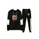 Hot Popular Figure Printed Letter Drawstring Hoodie with Loose Sweatpants Two-Piece Set