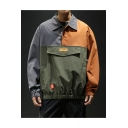 Guys New Fashion Colorblock Letter GERAROW Pattern Lapel Collar Long Sleeve Casual Jacket Coat