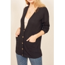 Popular Casual Plain Knit Long Sleeve Button Open Front Cardigan for Women