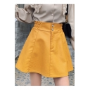 Solid Color Elastic Waist Double Button PU A-Line Mini Skirt