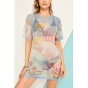 Women's Summer Round Neck Short Sleeve Angel Baby Pattern Sheath Mini Dress