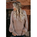 Womens Sexy Plain Off the Shoulder Lace Up Back Bow Bloomer Sleeve Sweater