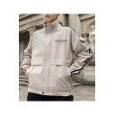 Men's New Stylish Letter CONFIDEN Print Zip Closure Long Sleeve High Sleeve Fitted Jacket