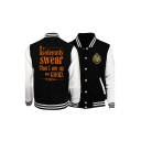 Hot Popular Letter ISOLEMNLY SWEAR Logo Print Rib Stand Collar Casual Baseball Jacket
