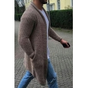 Mens Trendy Simple Plain Open Front Fitted Longline Knitwear Cardigan