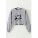 Simple Love Letter Love Heart Printed Round Neck Long Sleeve Crop Loose Sweatshirt