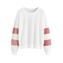 Basic Simple Color Block Round Neck Stripe Long Sleeve Pullover Sweatshirt