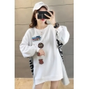 New Stylish Letter Embroidered Printed Patchwork Color Block Round Neck High Low Long Sleeve Loose Pullover Sweatshirt