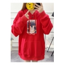 New Popular Letter Cat And Fish Printed Long Sleeve Loose Pullover Hoodie