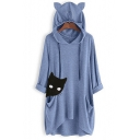 Womens Half Sleeve Cat Printed Cat Ear Hooded Casual Loose Longline Hoodie