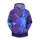 Unisex New Fashion Purple Geometric 3D Printed Long Sleeve Casual Loose Hoodie