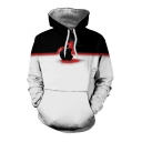 New Stylish Colorblock Apple Logo Pattern Black and White Long Sleeve Casual Loose Hoodie