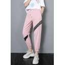 Womens Fashion Drawstring High Waist Black 3-Stripe Elastic Ankle Detail Casual Sweatpants