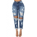 New High Waist Busted Knees Distressed Pockets Blue Ankle Grazer Jeans