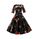 Womens Vintage Round Neck Half Sleeve Floral Print Tie Zip Midi Pleated Fit Dress
