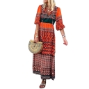 Womens Fashion V-Neck Half Sleeve Tie Tribal Print A-Line Boho Maxi Dress