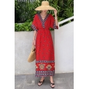 Womens Summer Beach V-Neck Half Sleeve Floral Tribal Print Red A-Line Boho Maxi Dress