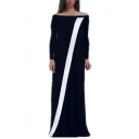 Moslem Fashion Boat Neck Long Sleeve Striped Black Shift Column Maxi Enevning Dress