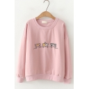 Cartoon Three-Cat Embroidery Round Neck Long Sleeve Pullover Sweatshirt