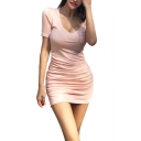 Womens Sexy Scoop Neck Short Sleeve Sashes Pockets Pink Bodycon T-Shirt Mini Dress
