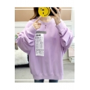 Letter Plane Printed Round Neck Long Sleeve Oversized Sweatshirt