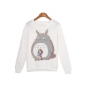 Cartoon Totoro And Girl Print Round Neck Long Sleeve Leisure Pullover Sweatshirt
