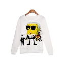 Cool Printed Round Neck Long Sleeve White Sweatshirt