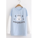 BABY BUNNY Letter Cartoon Rabbit Love printed Color Block Round Neck Long Sleeve Cotton Blue Sweatshirt