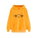 New Popular Funny Cardiogram Love Heart Printed Long Sleeve Hoodie With Pocket