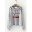 NA VIGGATOR Letter Character Printed Long Sleeve Leisure Loose Hoodie