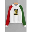 SAVE THE BEES Letter Bee Printed Color Block Long Sleeve Hoodie