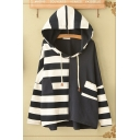 New Stylish Stripe Print Patchwork Long Sleeve Loose Fit Pullover Hoodie