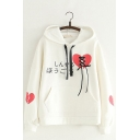 Broken Love Heart Japanese Pattern Lace Up Bow Tie Fron Long Sleeve Casual Loose Hoodie