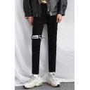 Guys New Fashion Solid Color Ribbon Embellished Black Slim Pencil Pants Jeans