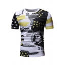 Summer Cool Man Round Neck Short Sleeve Star Figure Printed Basic Pullover T-Shirt