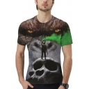 Mens Short Sleeve Round Neck King Kong Skull Printed Fitted Tee
