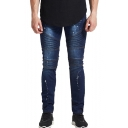 Men's Popular Fashion Pleated Patched Paint Point Printed Dark Blue Biker Jeans