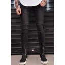 Men's New Fashion Simple Plain Knee Pleated Zippered Cuff Black Cool Frayed Ripped Biker Jeans