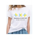TXT Unique Cool Letter Printed Round Neck Short Sleeve White Leisure Tee