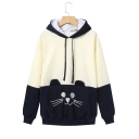 Womens Sweet Cute Style Long Sleeve Animal Embroidered Colorblock Patch Bow Back Casual Hoodie