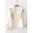 Womens Stylish Bloomer Sleeve V Neck Floral Embroidered Knitted Cardigan