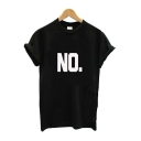 Hot Trendy Womens Rolled Sleeve Round Neck NO Letter Printed Leisure Tee
