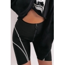 Cool Unique Black Zip Front Striped Skinny Fitted Bermuda Legging Shorts