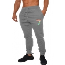 Men's Trendy Colored Letter 7 Printed Drawstring Waist Casual Sweatpants